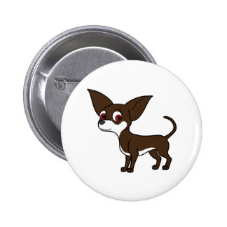 Chocolate Chihuahua with White Markings Button