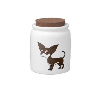 Chocolate Chihuahua with White Markings Candy Jars