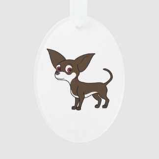Chocolate Chihuahua with White Markings Ornament