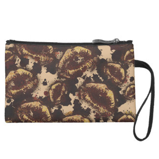 Chocolate Chip Abstract Lips Suede Wristlet