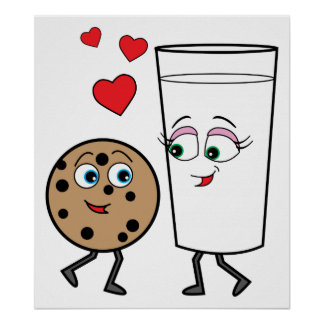 Chocolate Chip Cookie and Milk Poster