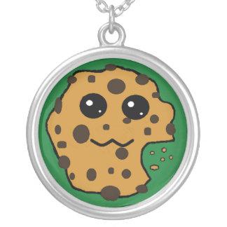 Chocolate chip cookie dark green necklace