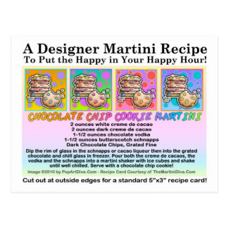 Chocolate Chip Cookie Martini Recipe Card Postcard