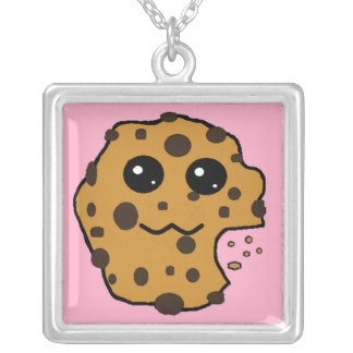 Chocolate chip cookie pink custom necklace