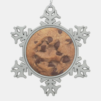 Chocolate Chip Cookie Snowflake Pewter Christmas Ornament