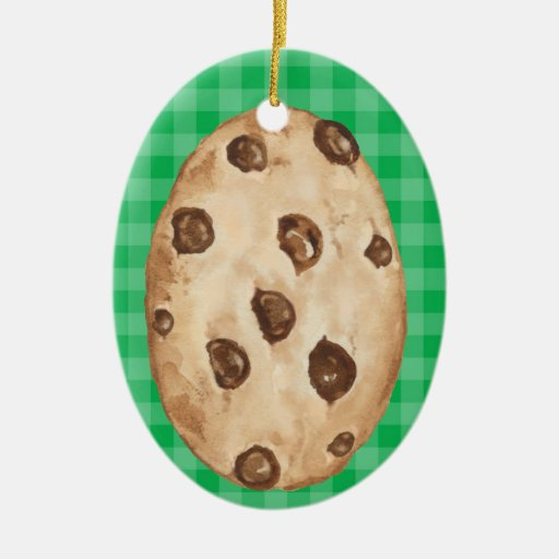 Chocolate Chip Cookie - SRF Double-Sided Oval Ceramic Christmas Ornament