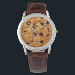 """Chocolate Chip Cookie Wrist Watch<br><div class=""""desc"""">Delicious looking chocolate chip cookie on quirky brown leather watch.</div>"""