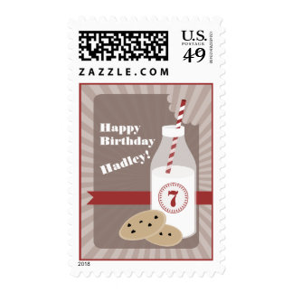 Chocolate Chip Cookies & Milk Birthday - Red Postage