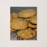 """Chocolate Chip Cookies on Platter Photo Jigsaw Puzzle<br><div class=""""desc"""">Photo of homemade chocolate chip cookies on a glass platter.</div>"""