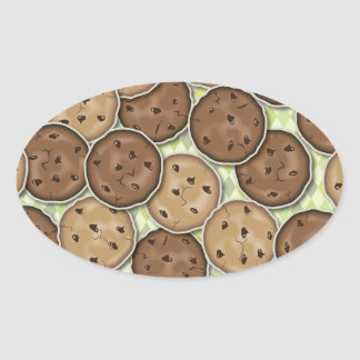 Chocolate Chip Cookies Oval Sticker