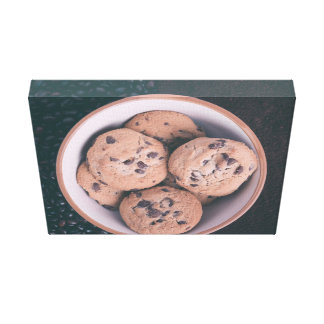 Chocolate chip coookies in a cup canvas print
