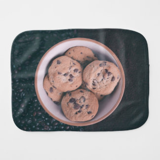 Chocolate chip coookies in a cup burp cloth