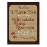 Chocolate Chip Crispy Yummy Cookies Golden Brown Postcard