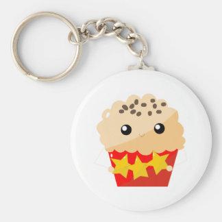 Chocolate Chip Muffin Holding Stars Basic Round Button Keychain