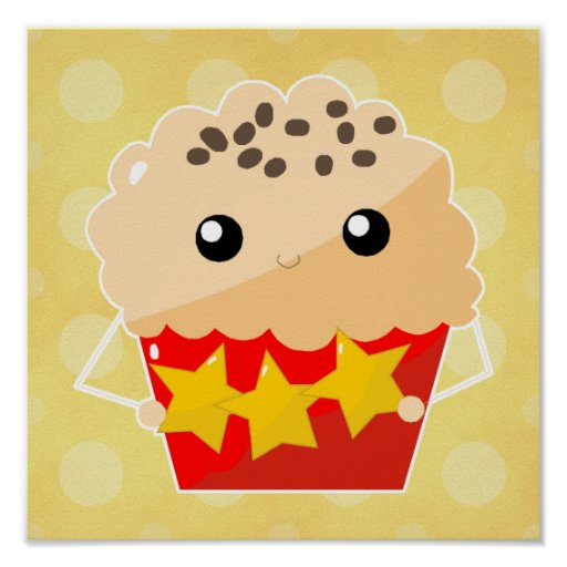 Chocolate Chip Muffin Holding Stars Poster