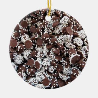 Chocolate Chip Print With White Sprinkles Ceramic Ornament