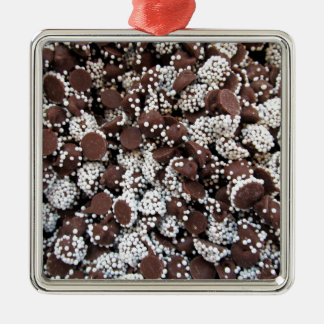 Chocolate Chip Print With White Sprinkles Metal Ornament