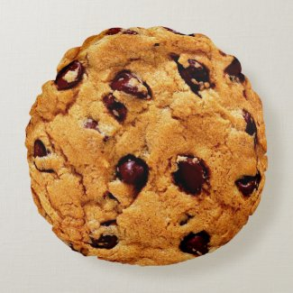 Chocolate chips cookie round pillow
