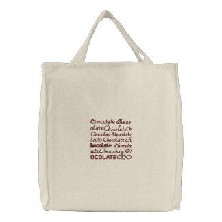 Chocolate, Chocolate, Chocolate, C... Embroidered Tote Bag