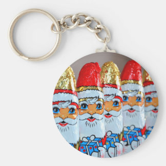Chocolate Christmas Santa Claus Basic Round Button Keychain
