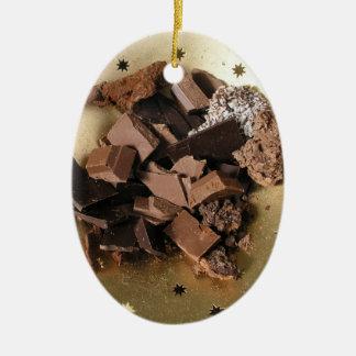 Chocolate chunks ceramic ornament