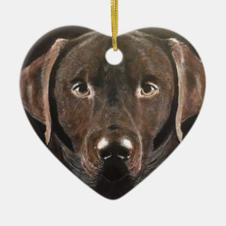 Chocolate clásico Labrador Adorno De Cerámica En Forma De Corazón