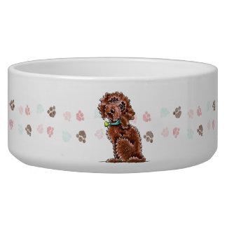 Chocolate Cockapoo Heart Collar Bowl