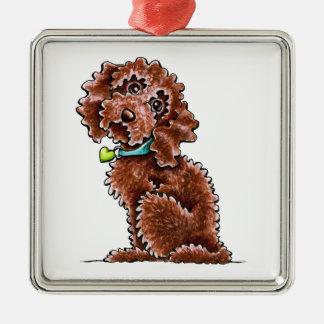 Chocolate Cockapoo Heart Collar Metal Ornament