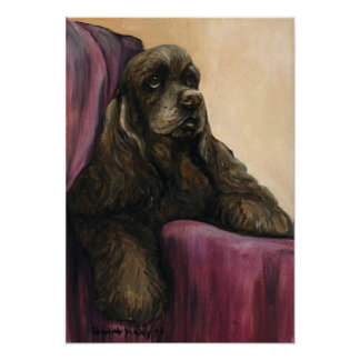 """Chocolate Cocker Spaniel"" Art Reproduction Print"
