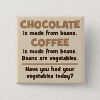 Chocolate, Coffee, Beans, Vegetables - Novelty Pinback Button
