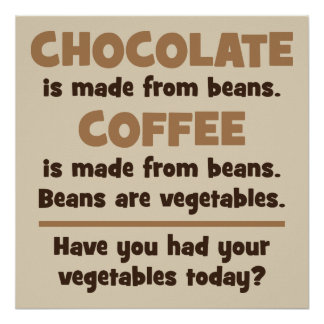 Chocolate, Coffee, Beans, Vegetables - Novelty Poster