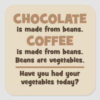 Chocolate, Coffee, Beans, Vegetables - Novelty Square Sticker