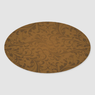 Chocolate Color Background Oval Sticker