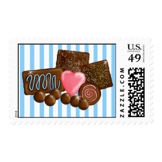 Chocolate Confections Candy Postage Stamps