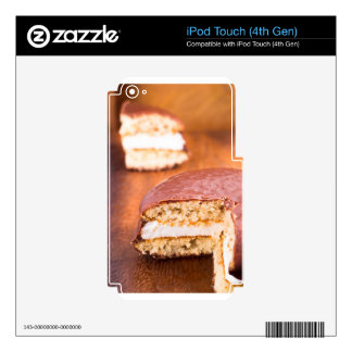 Chocolate cookies with milk souffle on a brown iPod touch 4G decal