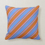 [ Thumbnail: Chocolate, Cornflower Blue & Plum Colored Pattern Throw Pillow ]