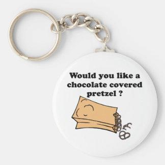 chocolate covered pretzels basic round button keychain