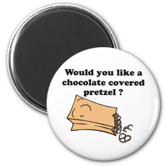 chocolate covered pretzels 2 inch round magnet