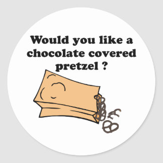 chocolate covered pretzels classic round sticker