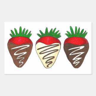 Chocolate Covered Strawberries Valentine's Day Rectangular Sticker