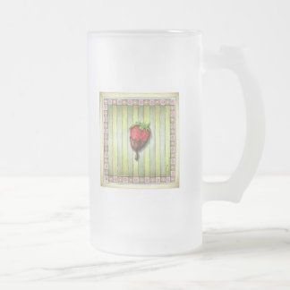 CHOCOLATE COVERED STRAWBERRY FROSTED GLASS BEER MUG