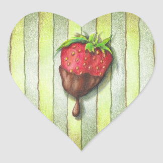 CHOCOLATE COVERED STRAWBERRY HEART STICKER
