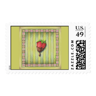 CHOCOLATE COVERED STRAWBERRY POSTAGE STAMP