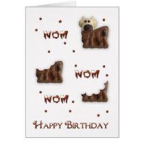 Chocolate Cow Nom Nom Birthday Greeting Card