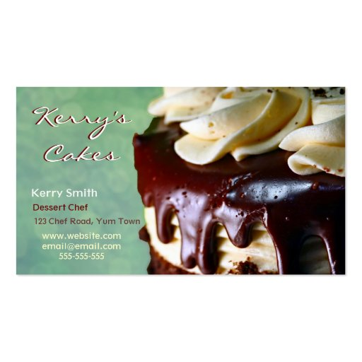 Chocolate Cream Cake Green Business Card