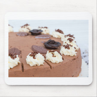 Chocolate cream cake with cake lace in detail mouse pad
