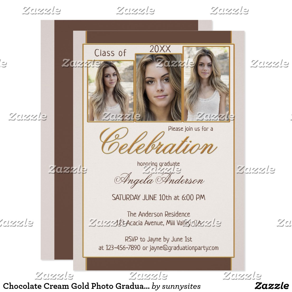 Chocolate Cream Gold Photo Graduation Invitation