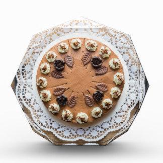 Chocolate cream pie on rustic wood cake top acrylic award