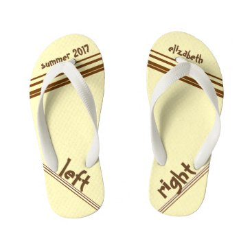 Beach Themed Chocolate Cream Stripe Left and Right Kid's Flip Flops