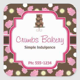 Chocolate Cupcake and 3 Tier cake Bakery Sticker